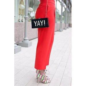 ASOS red pleated pants